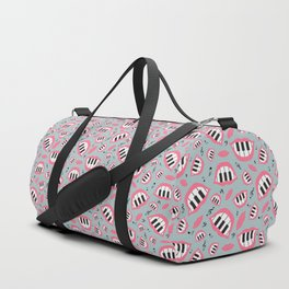 Piano smile pattern in grey&pink Duffle Bag