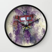 optimus prime Wall Clocks featuring G1 - Optimus Prime by DesignLawrence