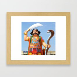 Mahishasura Statue Framed Art Print