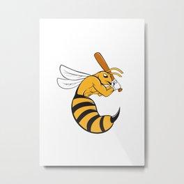 Killer Bee Baseball Player Bat Cartoon Metal Print