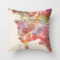 vancouver Throw Pillows featuring Vancouver map by Map Map Maps