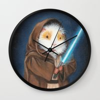 guinea pig Wall Clocks featuring Jedi Guinea Pig by When Guinea Pigs Fly