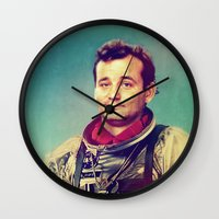 murray Wall Clocks featuring Space Murray by rubbishmonkey