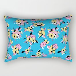 Colorful, girly Blue, pink and yellow, floral botanical print pattern Rectangular Pillow