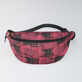 Red hearts, plaid Fanny Pack