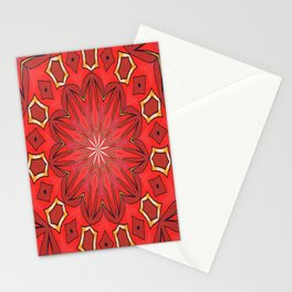 Shades of Red Bold Kaleidoscope Pattern Stationery Cards