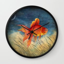 Floating red fish Wall Clock