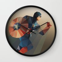 captain swan Wall Clocks featuring Captain by Ed Burczyk