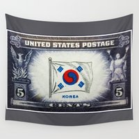 korea Wall Tapestries featuring Flag of Korea by lanjee