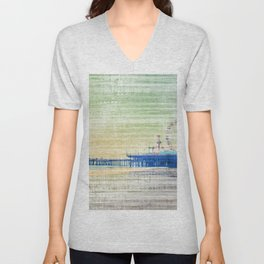 Green grey distressed Canvas effect Santa Monica Pier Unisex V-Neck