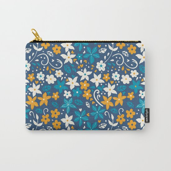 Floral pattern with doodles of flowers and leaves Carry-All Pouch