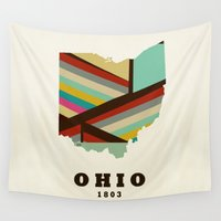 ohio Wall Tapestries featuring Ohio state map modern by bri.buckley