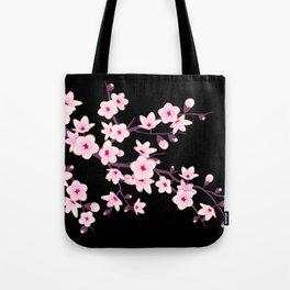 Cherry Blossom Pink Black Tote Bag