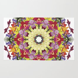 Abundantly colorful orchid mandala 1 Rug