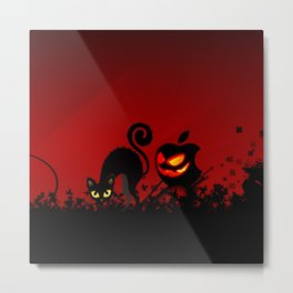 NIGHTMARE CAT WITH APPLE Metal Print