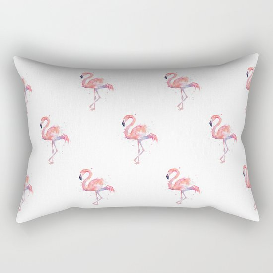Flamingo Pattern Pink Flamingo Watercolor Rectangular Pillow