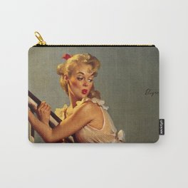 Pin Up Girl on Stair Banister Vintage Art Carry-All Pouch