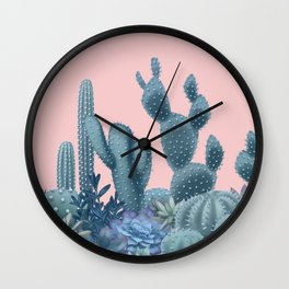 Milagritos Cacti on Rose Quartz Background Wall Clock