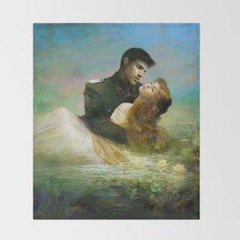Love me tender - Sad couple in loving embrase in the lake Throw Blanket