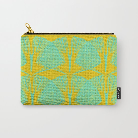 ginkgo pattern in deep yellow and turquoise Carry-All Pouch