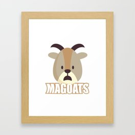 Magoats Funny Goat Herbivore Mammals Wildlife Animal Nature Gift Framed Art Print