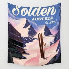 Sölden Austria vintage ski poster Wall Tapestry