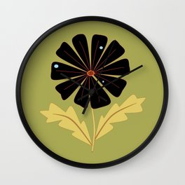 A Black Daisy with Dew Drops Wall Clock