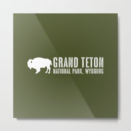 Bison: Grand Teton, Wyoming Metal Print