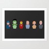 superheroes Art Prints featuring Superheroes by Luke Jonathon Fielding