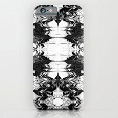 Akiko - spilled ink watercolor painting marble black and white minimal abstract wave ocean marbled iPhone 6s Slim Case