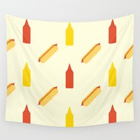 hot dog Wall Tapestries featuring Hot dog by Will Wild