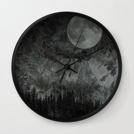 mystical midnight moon landscape // black & green Wall Clock
