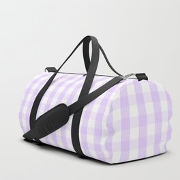 Chalky Pale Lilac Pastel and White Gingham Check Plaid Duffle Bag