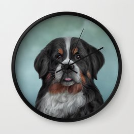 Drawing Bernese Mountain Dog 6 Wall Clock