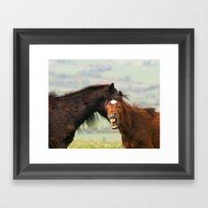 Mum, he bite me AGAIN!!! Framed Art Print