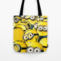 lannister Tote Bags featuring DESPICABLE MINION by BeautyArtGalery