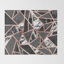Modern Rose Gold Glitter Marble Geometric Triangle Throw Blanket
