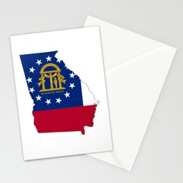 Flag Map of Georgia Stationery Cards