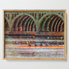Rowing under the Hanover Street Bridge at Sunrise Serving Tray