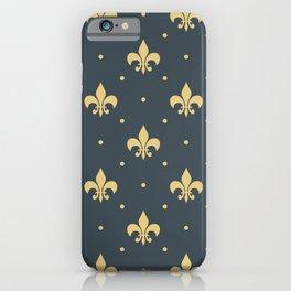 Fleur De Lis design - dark blue iPhone Case