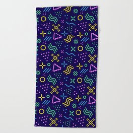 Retro 80s Shapes Pattern Beach Towel
