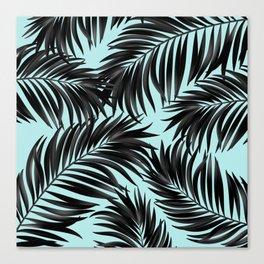 Palm Tree Fronds Black on Cyan Hawaii Tropical Canvas Print