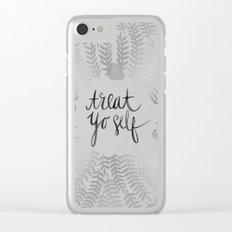 Treat Yo Self – Silver Clear iPhone Case