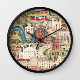 Vilnius, the capital city of Lithuania Wall Clock