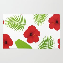 Red hibiscus and palm leaves seamless pattern. Rug
