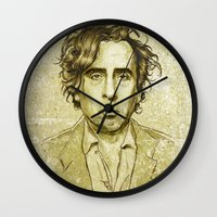 tim burton Wall Clocks featuring Tim Burton by Renato Cunha