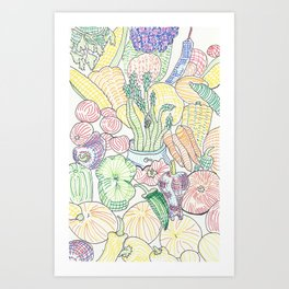 Vegetable Cornucopia Art Print