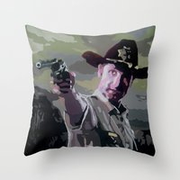 rick grimes Throw Pillows featuring Rick Grimes by Processed Image