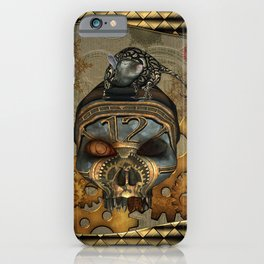 Steampunk, awesome steampunk skull with steampunk rat iPhone Case