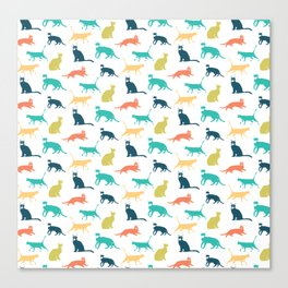 Colorful Cat Pattern Minimal Happy Bright Canvas Print